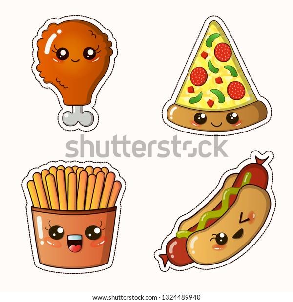 Fastfood Sticker Set Kawaii Fried Chicken Stock Vector