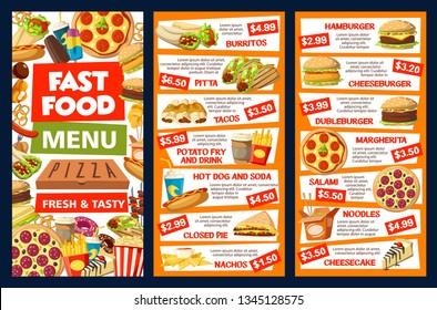 Fastfood and street food vector menu. Burrito and pitta, tacos, potato fry and drink, hot dog and soda, pie and nachos. Hamburger and cheeseburger, pizza margarita, salami and noodles