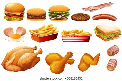 Fastfood in various types illustration