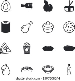 fastfood vector icon set such as: macaroni, biscuits, fun, serving, drinks, filled, entertainment, picture, juice, water, rice, lemonade, japan, roast, soda, italy, bake, knife, ingredients, berry