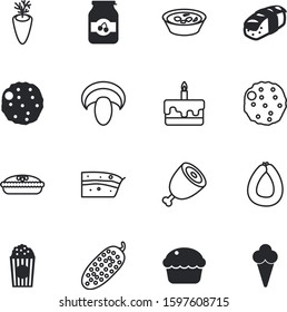 fastfood vector icon set such as: fungus, season, shape, bowl, bone, thai, salad, fish, forest, product, cinema, pie, cone, candle, twine, asia, label, ice, decorative, beautiful, protein, shank