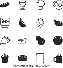 fastfood vector icon set such as: refreshment, turkey, silhouette, bird, homemade, birthday, shop, whiskey, omelet, cocktail, twine, bourbon, bread, rocks, cuisine, poultry, vine, thai, rose, cake