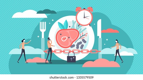 Fasting vector illustration. Flat tiny metabolism diet time person concept. Modern and healthy method for weight loss and positive effect. Daily meal schedule and plan to stay in ketogenic state.