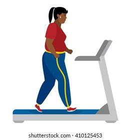 Fat african american girl running on treadmill on white. Keep fit and healthy. Motivational. Training activity. African american character. Workout motivation and inspiration.