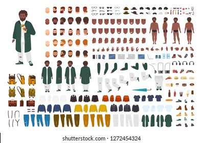 Fat African American man constructor set or DIY kit. Bundle of flat cartoon character body parts, postures, gestures, clothes isolated on white background. Front, side, back view. Vector illustration.