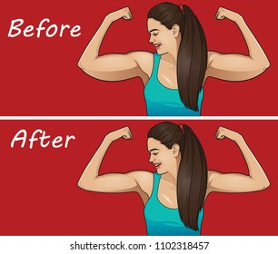 Fat arms. Before - after concept.