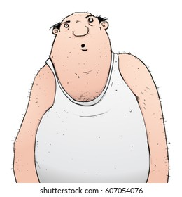 Fat bald slob in vest cartoon character