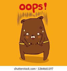 fat bear Measure his Body Fat, character cartoon, vector-illustration