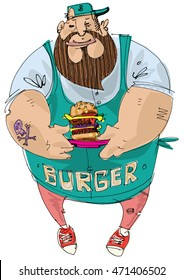 Fat bearded cook is holding hamburger in his hands. Cartoon. Caricature
