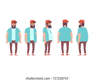 Fat bearded man, hipster.  Front, side, back, 3/4 view character for animation. Separate parts of body. Cartoon style, flat vector illustration.