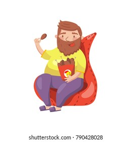 Fat bearded man sitting on armchair and eating fried chicken legs cartoon vector Illustration
