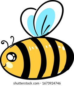 Fat bee, illustration, vector on white background.