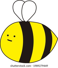 A fat bee with little wings and a poker face