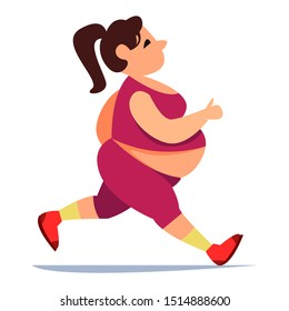 Fat big woman runs along the road in red uniform leggings. Vector illustration in cartoon style. Sports and running.