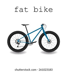 Fat bike. Bicycle with big tyre. Vector illustration.