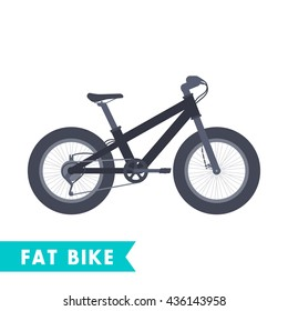 Fat bike in flat style isolated on white, vector illustration