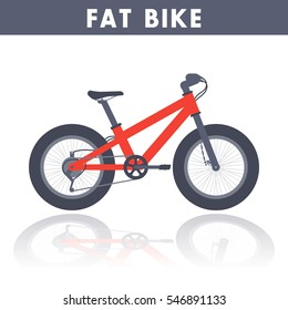 Fat bike in flat style over white, vector illustration