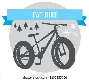 fat bike mountain bicycle sport emblem vector