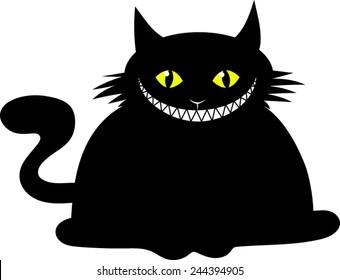 Fat Black Cat - Cartoon - Vector Image