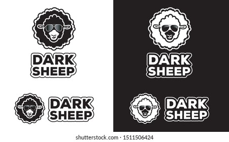 Fat Black sheep with text, logo, symbol, icon,graphic,vector, round, high contrast, flat.