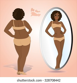 Fat black woman looking in mirror and seeing herself as slim and younger, vector