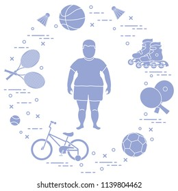 Fat boy, badminton rackets and shuttlecocks, football and basketball balls, rackets and balls for table tennis, kids bicycle, rollers. Sports and healthy lifestyle from childhood.