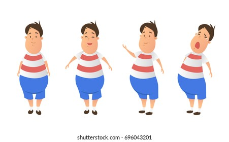 Fat boy cartoon posing collection set. Fat guy vector illustration isolated on white background.