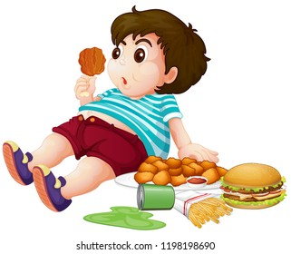 Fat boy eating junkfood illustration