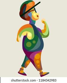 Fat boy joging in full colours pop art illustration