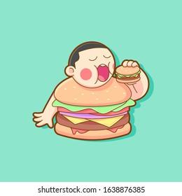 FAT BURGER BOY EATING A BURGER ILLUSTRATION. FAST FOOD LOGO MASCOT.
