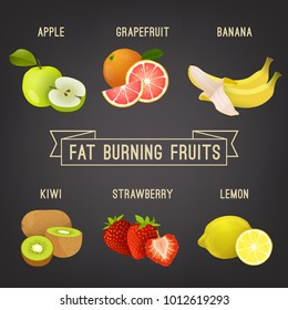 Fat burning fruits. Colourful vector illustration isolated on a dark grey background.