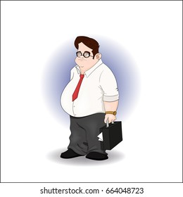 Fat business man with briefcase full of papers and golden watch - stock vector illustration