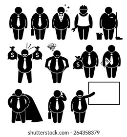 Fat Businessman Business Man Worker Stick Figure Pictogram Icons