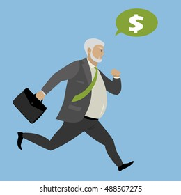Fat Businessman runs for profit, stock vector illustration