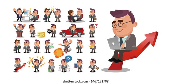 Fat Businessmen. business people group avatars characters
