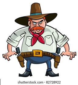 Fat cartoon cowboy ready to draw. Isolated