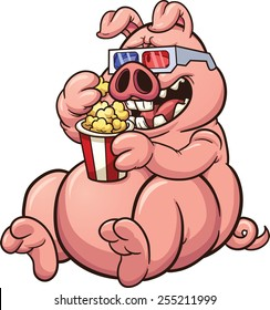 Fat cartoon pig eating popcorn and wearing glasses. Vector clip art illustration with simple gradients. Snout, glasses and pig on separate layers for easy editing.