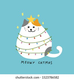 Fat cat acts to be Christmas tree with colorful lightbulb, Meowy Catmas cartoon vector illustration