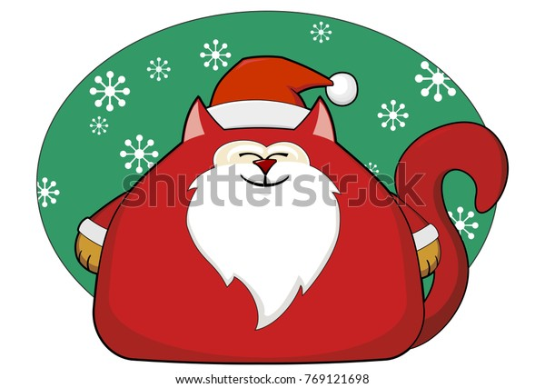 Father Christmas Cartoon Images.Fat Cat Father Christmas Cartoon On Stock Vector Royalty