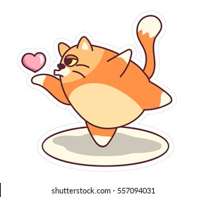 Fat cat sticker for Valentine's Day holidays. Air kiss. Flying heart. Ballet pose. Cartoon style design. Vector illustration with fat cat dancing. Badges, pins, emoji. Clip art on white background.