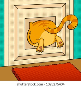 Fat cat stuck in small animal door pop art retro vector illustration. Color background. Comic book style imitation.