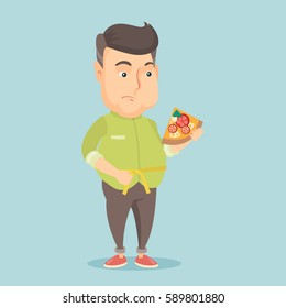 Fat caucasian man with slice of pizza in hand measuring a waistline. Sad fat man measuring a waistline with tape. Fat man with centimeter on waistline. Vector flat design illustration. Square layout.