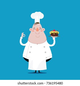 Fat Chef happy and hold Cake in hand. vector illustration