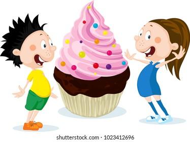 Fat children with big cake cartoon illustration isolated on white background - flat design