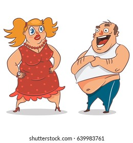 Fat couple. Obese man and woman. Vector cartoon illustration of people with overweight isolated on white background.