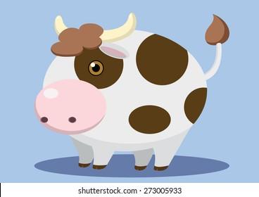 fat cow super cute cartoon vector