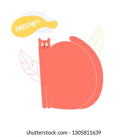 Fat cute cat character sleeps on the background of linear leaves. How to talk to and understand your cat? Meow? Colorful vector illustration.