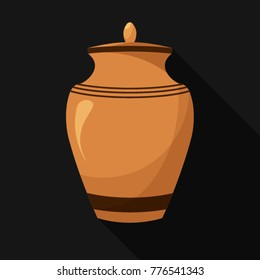 Fat design icons of urn for ashes. Cremation and funeral urn with dust.  Burial and dead man. Isolated. Vector illustration.
