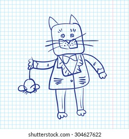 fat dressed cat catch a mouse drawn on a sheet of paper