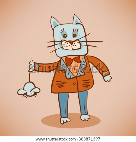 Fat Dressed Cat Catch Mouse Stock Vector Royalty Free 303871397
